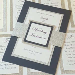 navy and silver wedding invitations