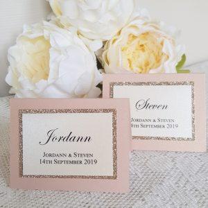 glitterati blush and champagne glitter place cards