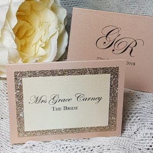 glitterati blush and champagne place cards