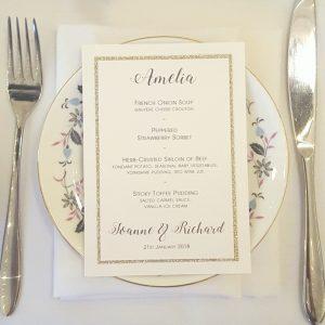champagne glitter personalised wedding menu