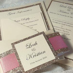 glitterati dusky pink pocketfold invitation