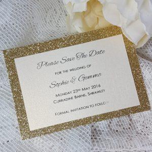 glitterati gold glitter save the date