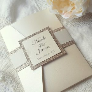 glitter wedding invitation