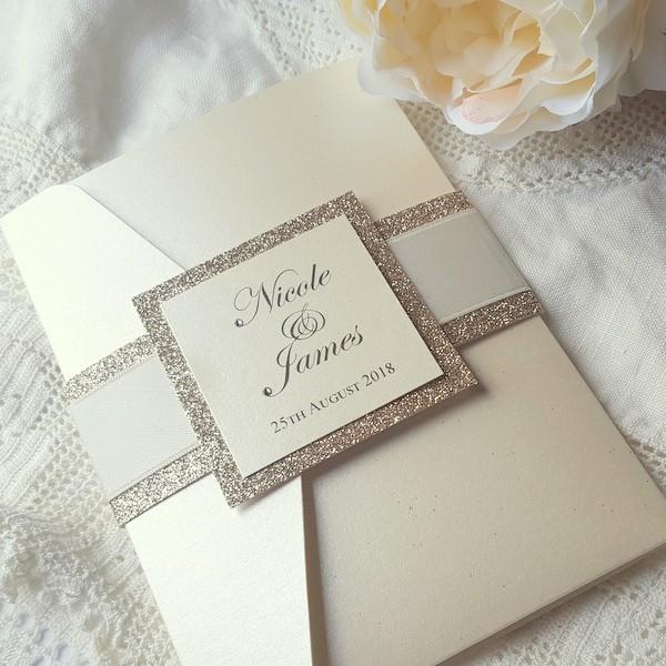 glitterati elegant ivory pocketfold invitation