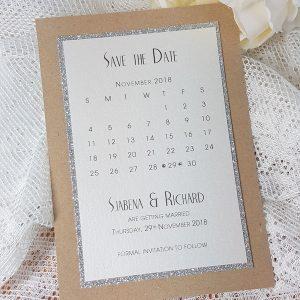 glitterati kraft and glitter calendar save the date