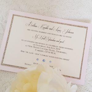 glitterati pale pink sparkle invitation