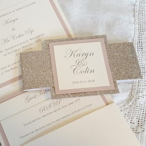 champagne and blush pocketfold with bellyband