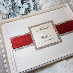 glitterati red ribbon guest book