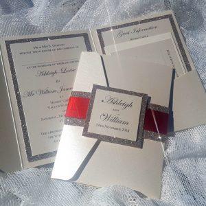 glitterati red ribbon wedding invitation