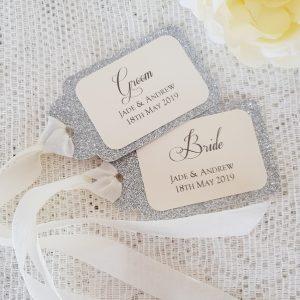 glitterati silver glitter name tags with silk ribbon