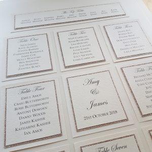 subtle silver glitter wedding table plan