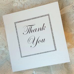 glitterati white and silver thank you card