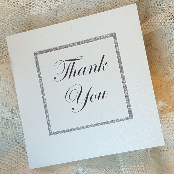 glitterati white and silver wedding thank you cards