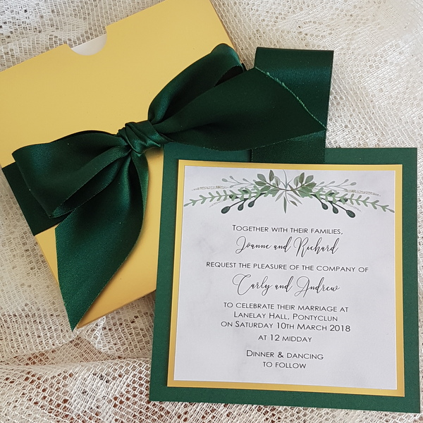 gold and greenery pull out wallet invitation