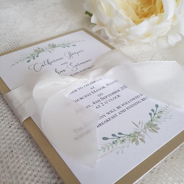 greenery wedding invitation with silk ribbon