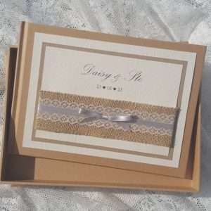 kraft wedding guest book with hessian lace