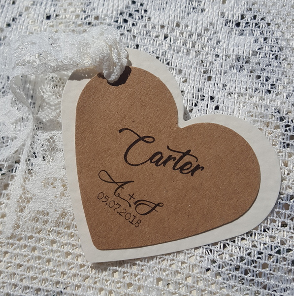 heart shaped wedding place tag with lace