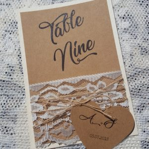 rustic table number with lace and twine
