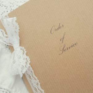 kraft and lace rustic order of service