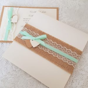 wedding invitations with hessian lace and mint green ribbon