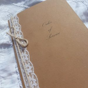 kraft, lace and twine order of service