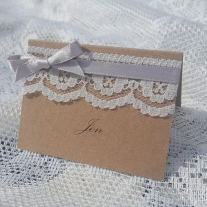 kraft wedding place card with lace and ribbon