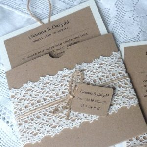 pull out wedding invitation with crochet lace and twine
