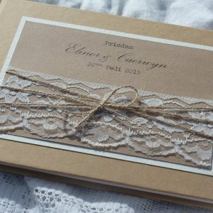 kraft wedding guest book with lace and twine