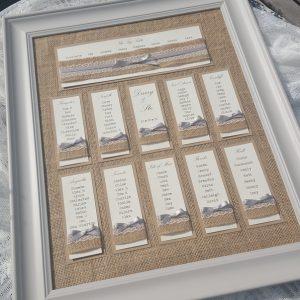 hessian backed rustic wedding table plan
