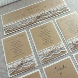 wedding table plan with hessian, kraft, lace and twine