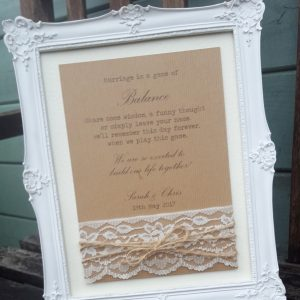 kraft and lace wedding sign with twine