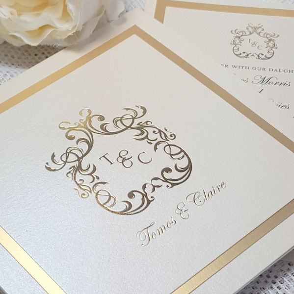 gold foil elegant monogram invitation