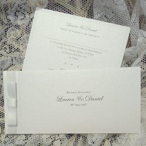 classic ivory dior bow invitations