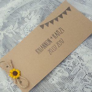 kraft cheque book with sunflower