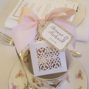 laser cut wedding favour box with silk ribbon