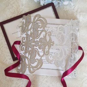 silver and burgundy wedding invitation