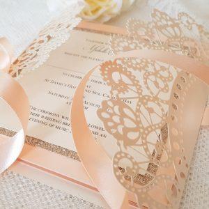peach and cream doily laser invitation