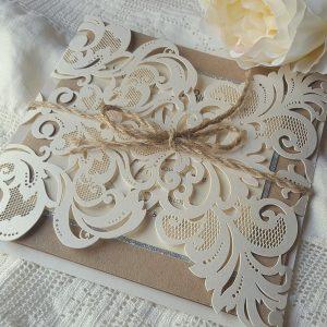 rustic kraft and glitter wedding invitation