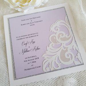 laser cut lilac evening invitation