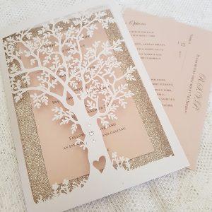 blush and glitter tree wedding invitation