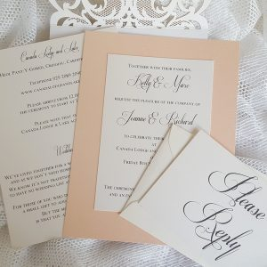 peach and ivory invitation inserts