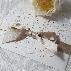 ivory and champagne floral laser pocket invitation