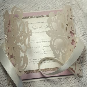 blush and ivory sparkle wedding invitation