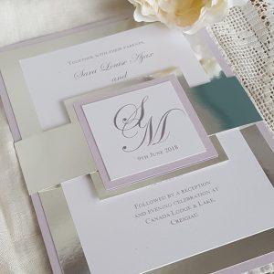 lilac and chrome metallic bellyband invitation