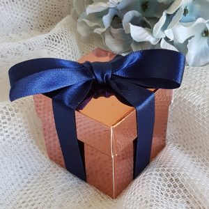 copper wedding favour box with navy ribbon