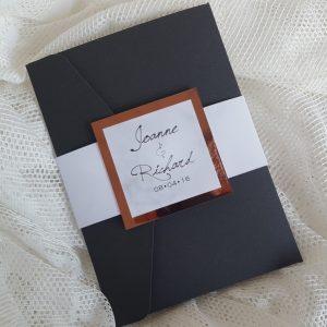 black marble and copper wedding invitation