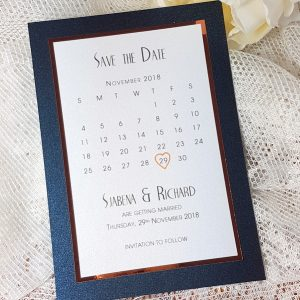 navy and copper save the date calendar