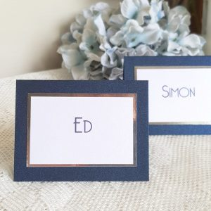 navy and chrome wedding place cards