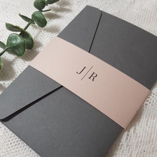 grey and blush elegant modern wedding invitations