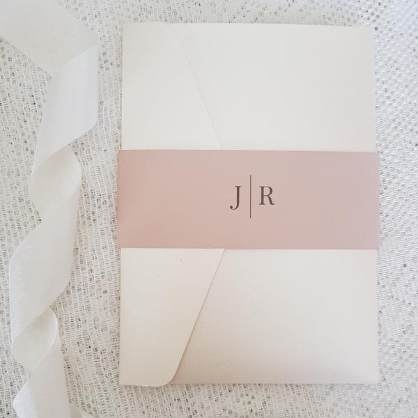 ivory and blush modern monogram pocketfold invitation